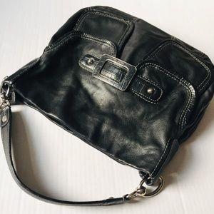 Via Spiga Black Leather Front Buckle Hobo Bag